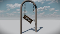 old broken open sign fbx