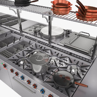set kitchen equipment 3d model