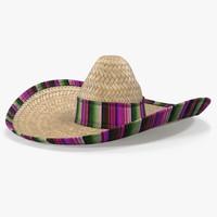 3d model mexican straw sombrero
