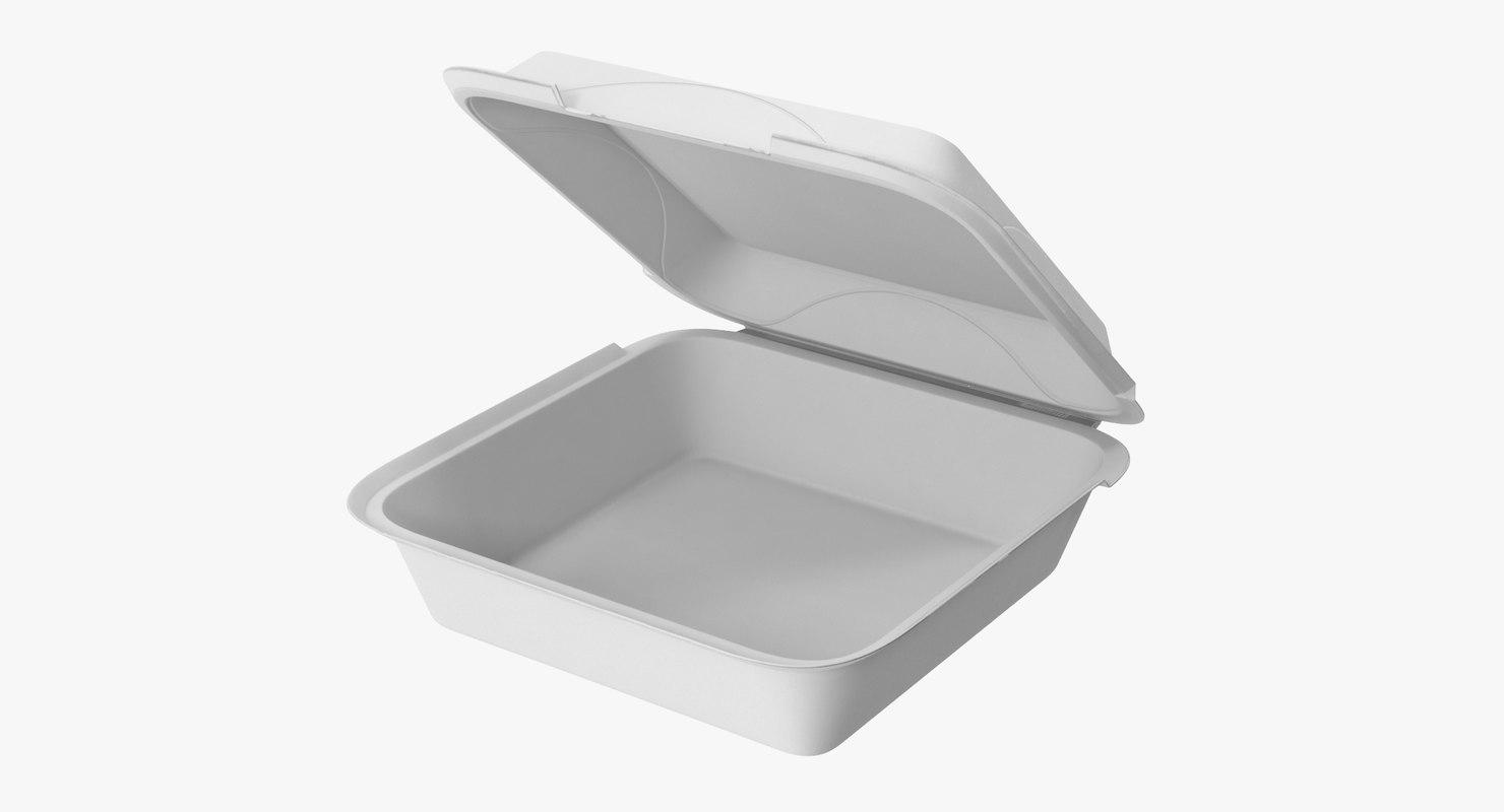 3d styrofoam box open model