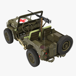 3d model army jeep willys ambulance