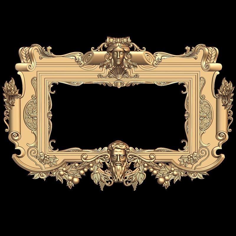 3d mirror frame stl cnc model