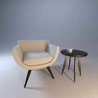 3d model of armchair chair contemporary