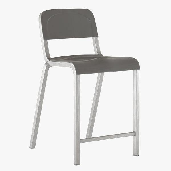 3d model stool counter emeco