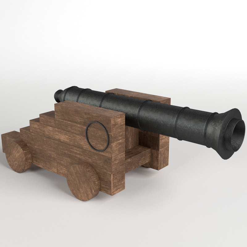 naval cannon scale pbr 3d model