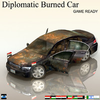 diplomatic burned car obj