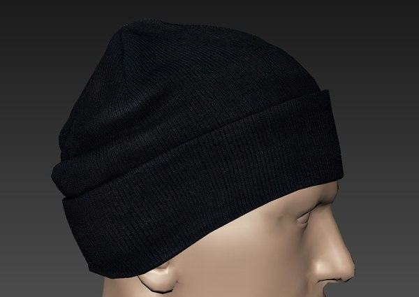 3d obj ready knitted cap