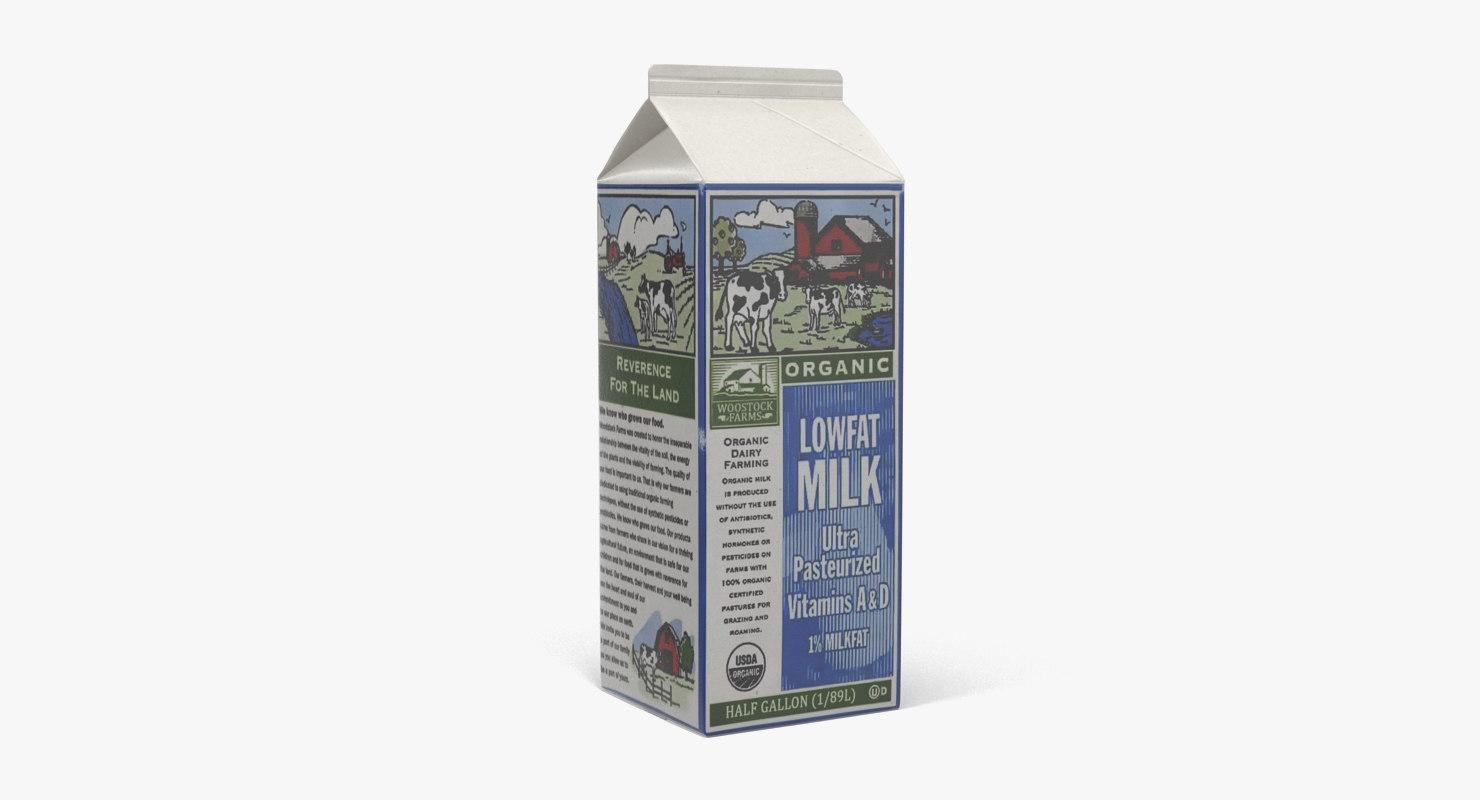 3d half gallon milk carton