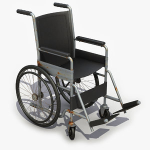 3d model old wheelchair chair
