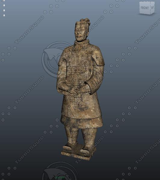 warriors terracotta chinese statue 3d x