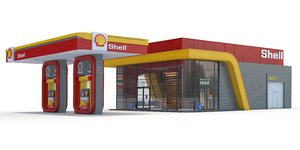shell gas station 3d model