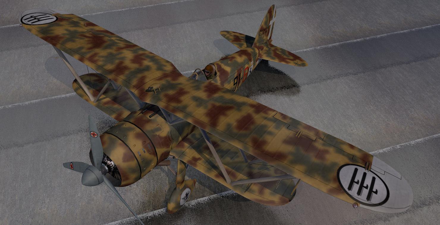 3d model plane fiat cr-42 falco