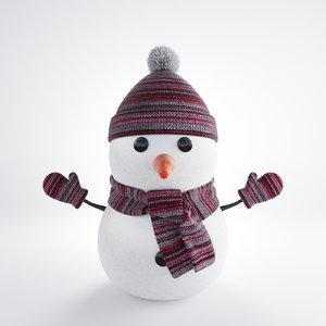 3d model snowman winter hat