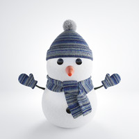 3d model snowman winter hat