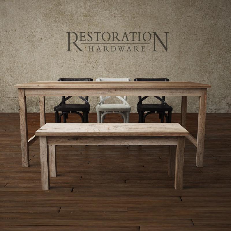 cafe rectangular play table 3d model