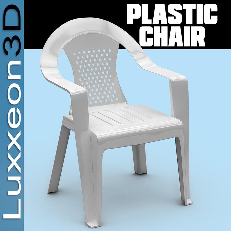 3d model white plastic chair