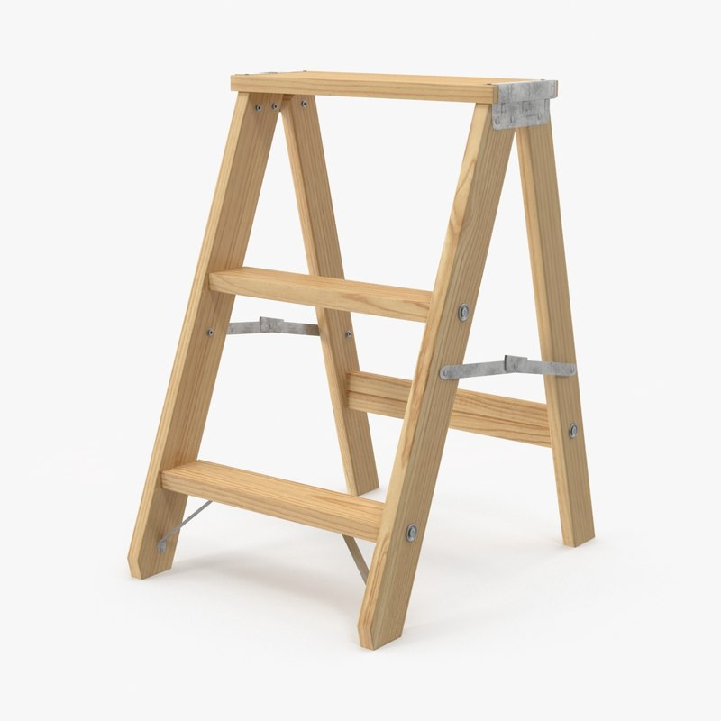 3d model wooden step stool