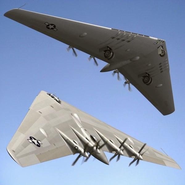 northrop flying wing bomber 3d model