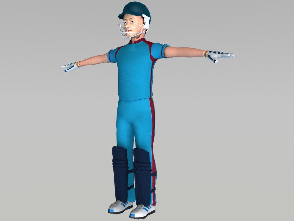 3d cricket batsman model