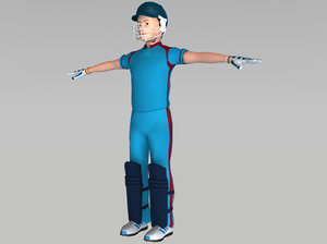 3d cricket batsman model
