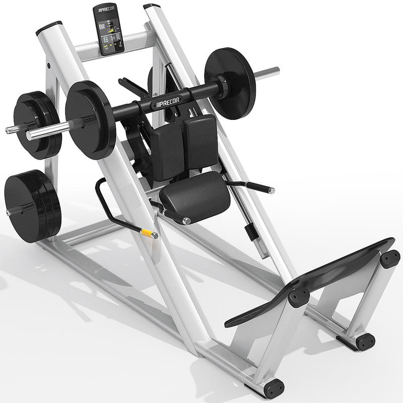 3d precor hack squat model