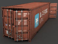 3d model long 20 feet cargo container