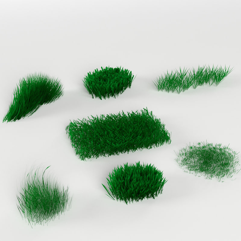 3d model pack 7 grass weed