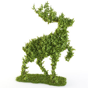 3d bush - wood deer model