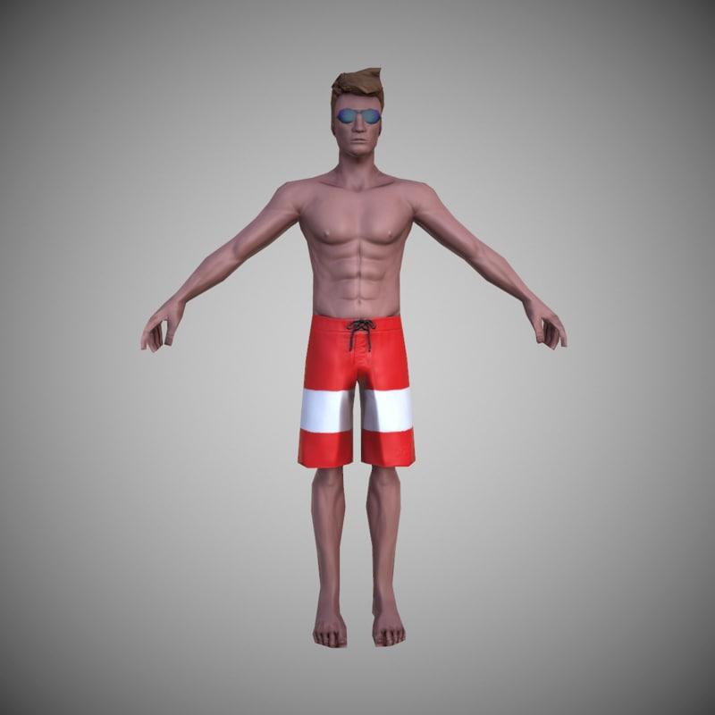 character beach 3d model