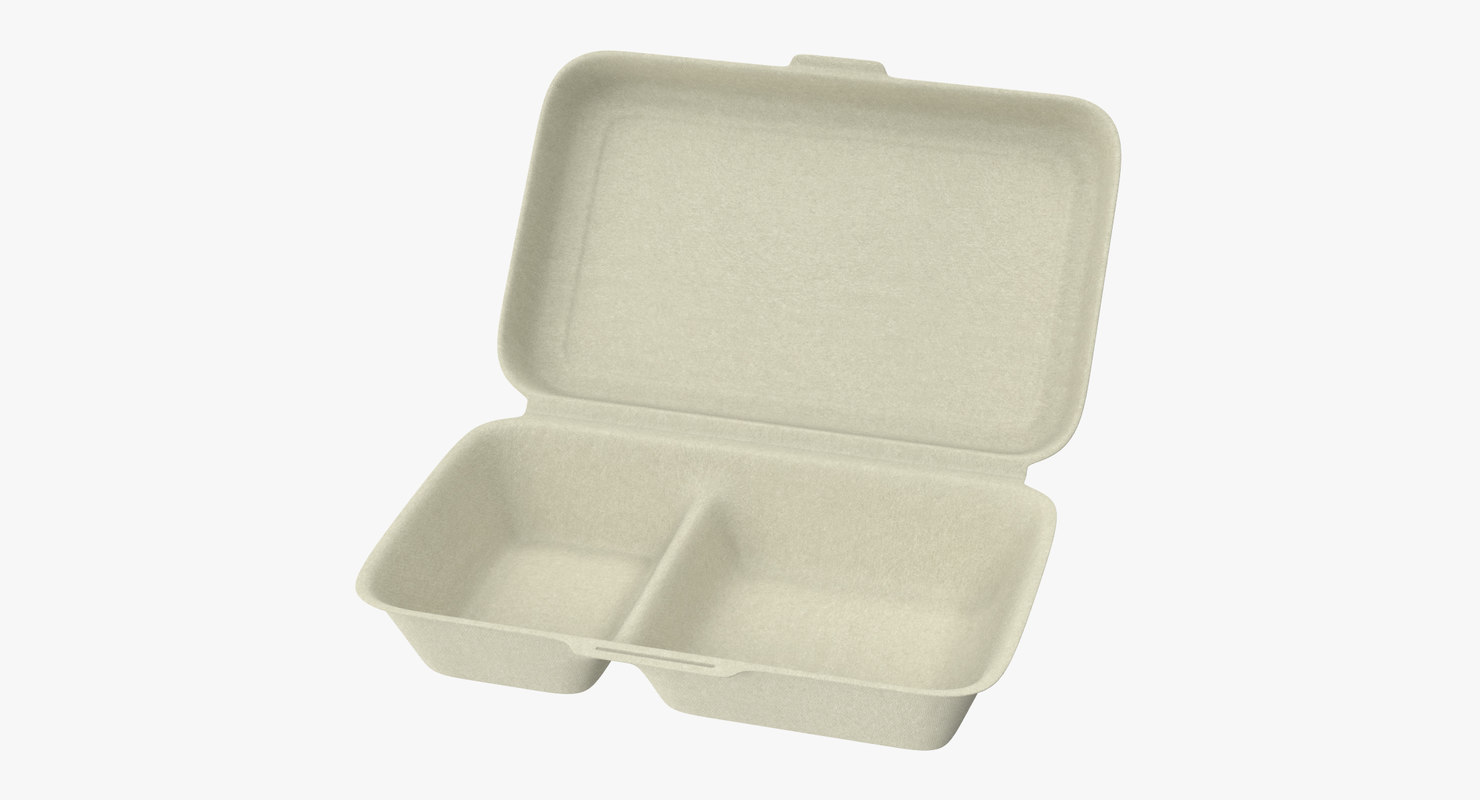 3d takeout container 02 open model