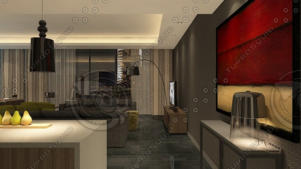 luxury apartment walk animation 3d model