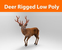 3d model deer rigged