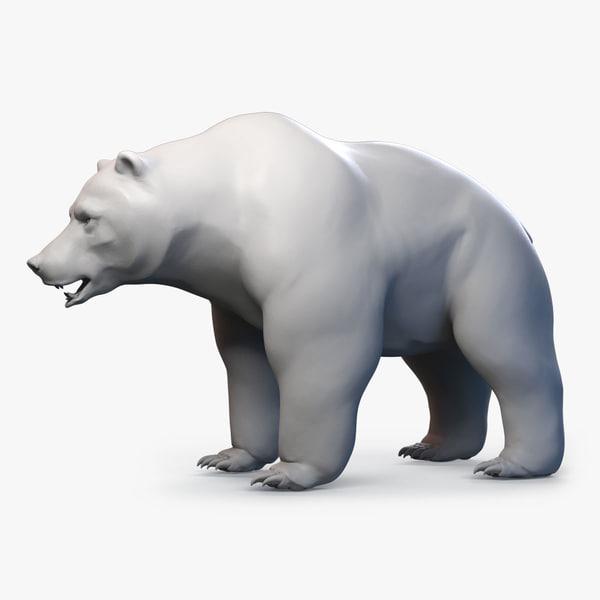 brown bear grizzly base mesh 3d model