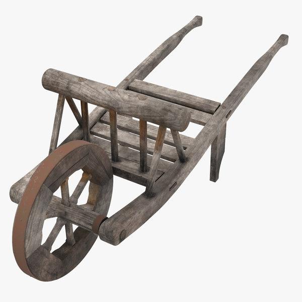 3d medieval wheelbarrow