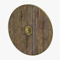 3d model medieval wood shield