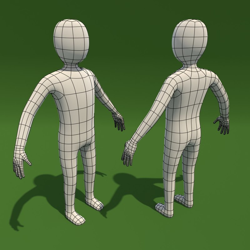 3d basemesh cartoon man model