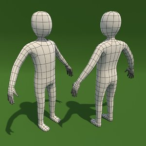 3d basemesh cartoon man model
