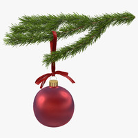 christmas fir branch 4 3d max
