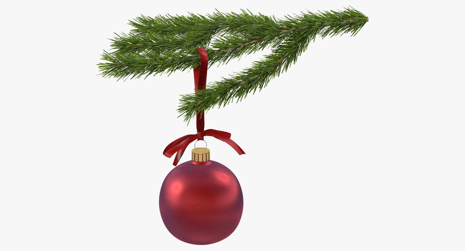 christmas fir branch 4 3d max