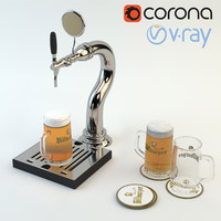High Poly 3d model of Beer tap ready for Bar, Pub or Restaurant scene: beer glass and beer mat (Vray and Corona render)
