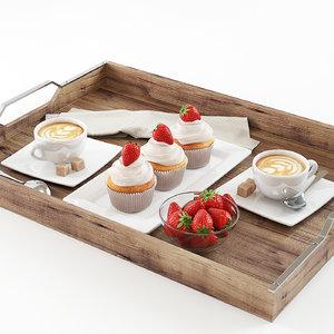3d cupcake strawberry cake model