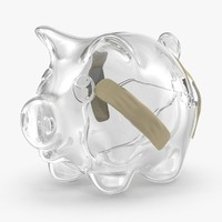 3d broken glass piggy bank
