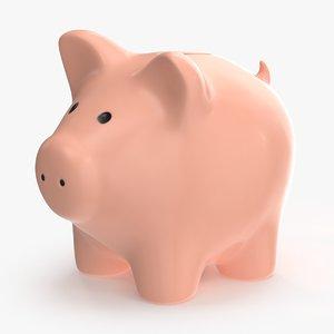 3d max piggy bank 01 pink