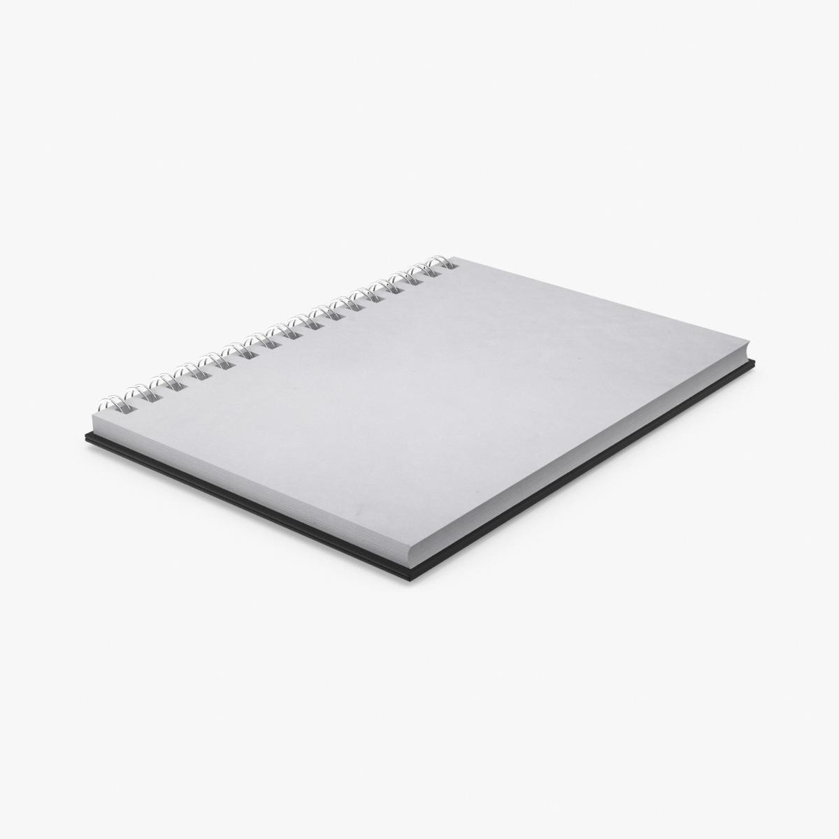 3d model ringed sketchbook open