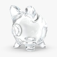 piggy bank glass clear 3d max