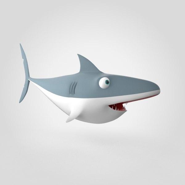 shark fish animals 3d model
