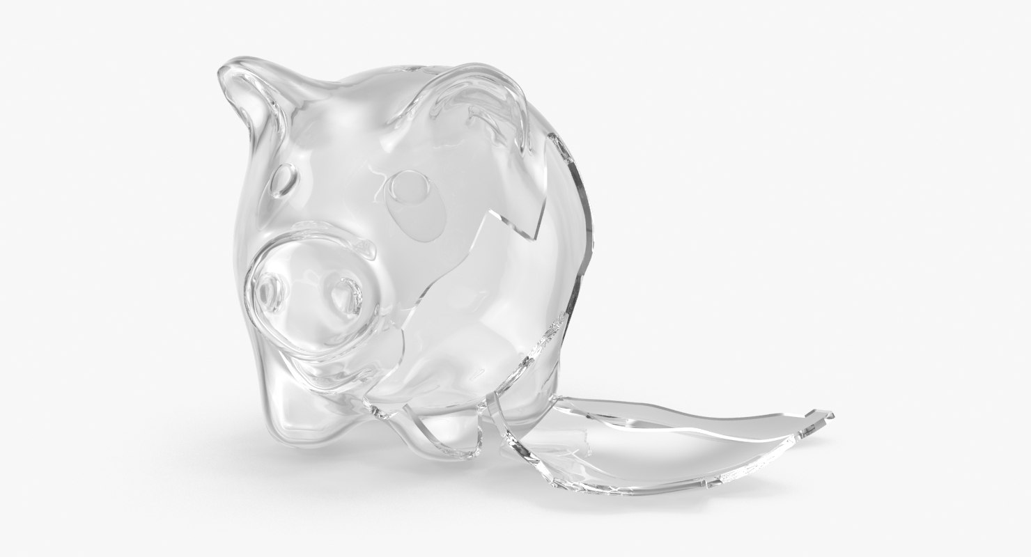 broken glass piggy bank 3d max