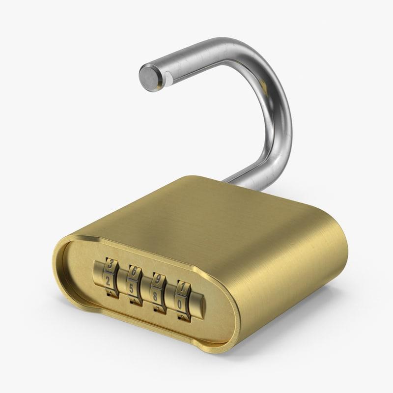 padlock closeup 3d model