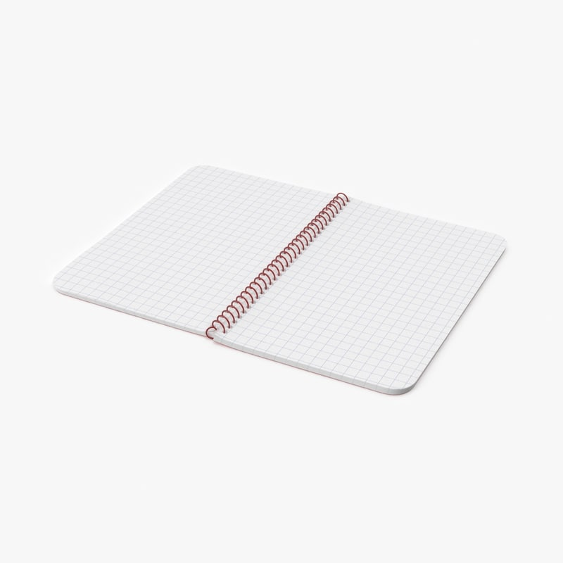 open graph paper notebook 3d model