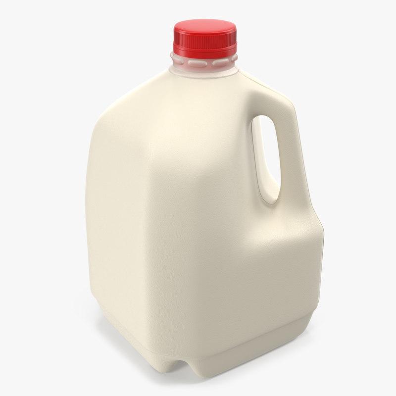 3d plastic milk bottle generic model